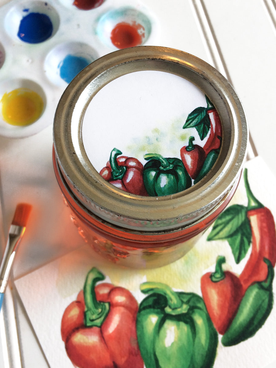 Watercolor Pepper Canning Labels for jelly jars | CanningCrafts.com