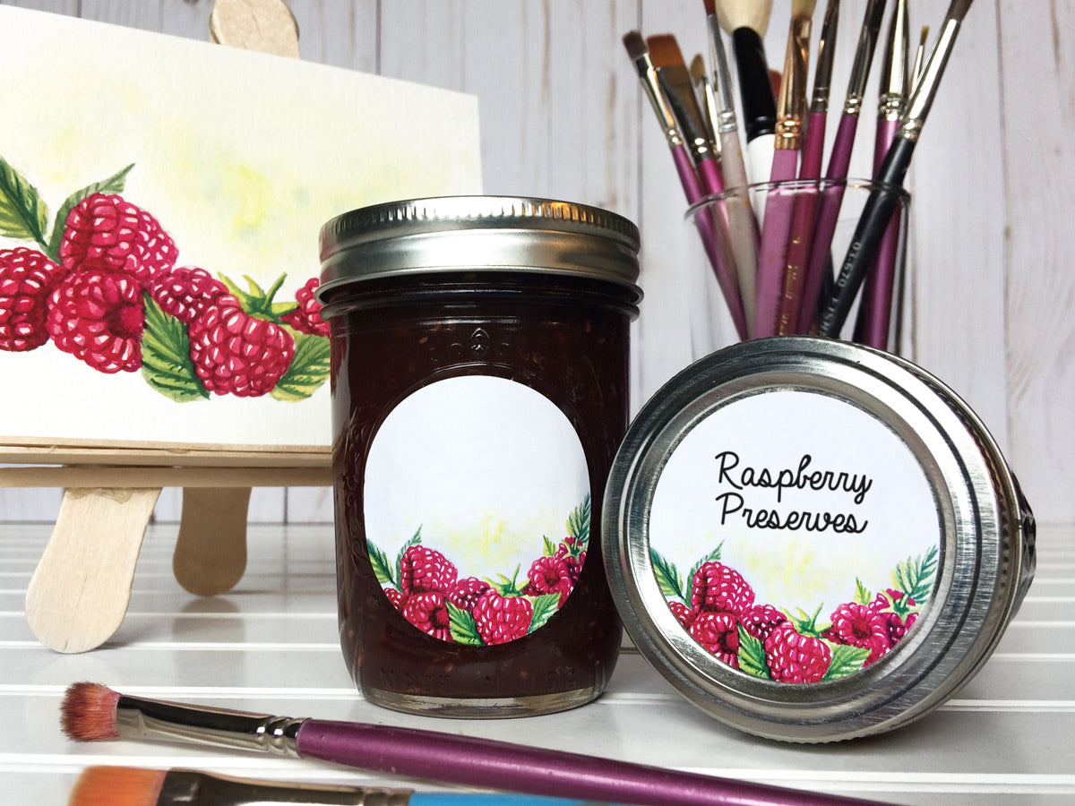 Watercolor Raspberry Canning Labels for jam, jelly, and preserves | CanningCrafts.com