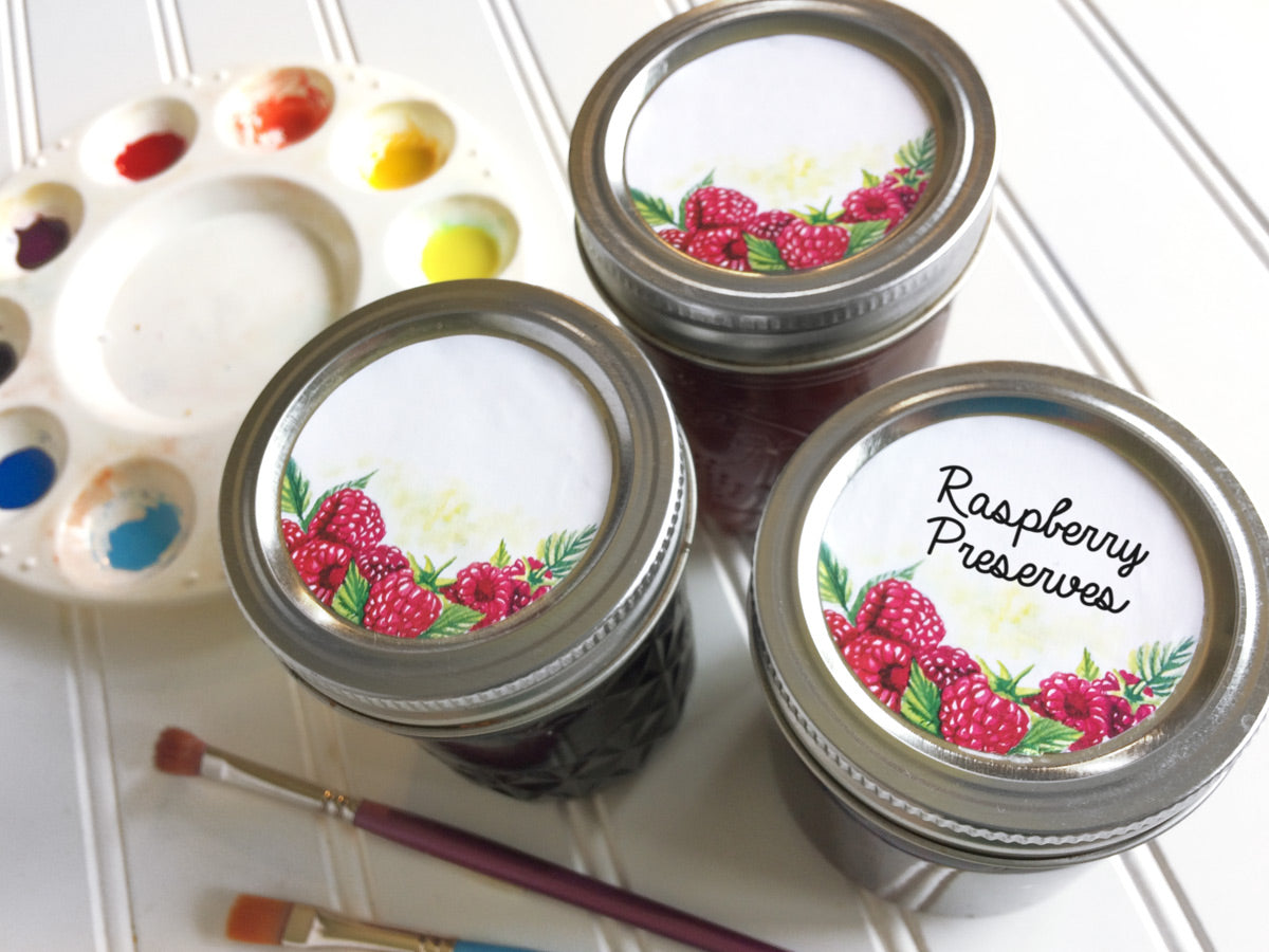 Watercolor Raspberry Mason Canning Jar Labels for jam, jelly, and preserves | CanningCrafts.com