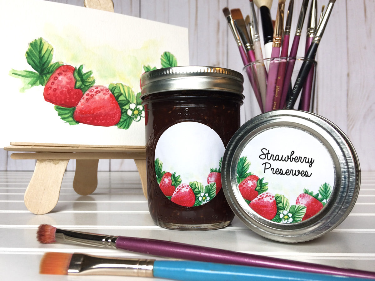 Watercolor Strawberry Canning Jar Labels for jam, jelly, and preserves | CanningCrafts.com