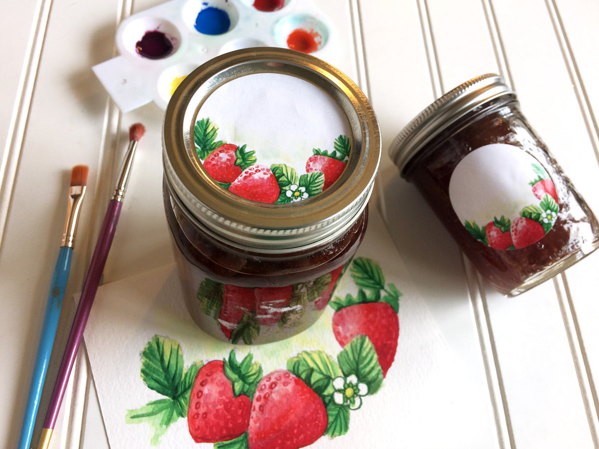 Watercolor Strawberry Mason Canning Jar Labels for jam, jelly, and preserves | CanningCrafts.com