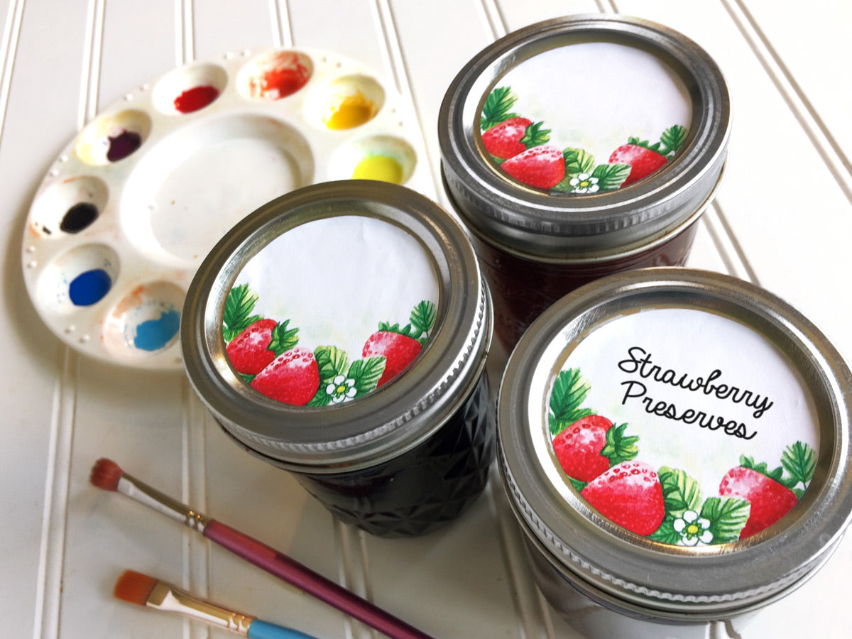 Watercolor Strawberry Jam and Jelly Jar Canning Labels | CanningCrafts.com
