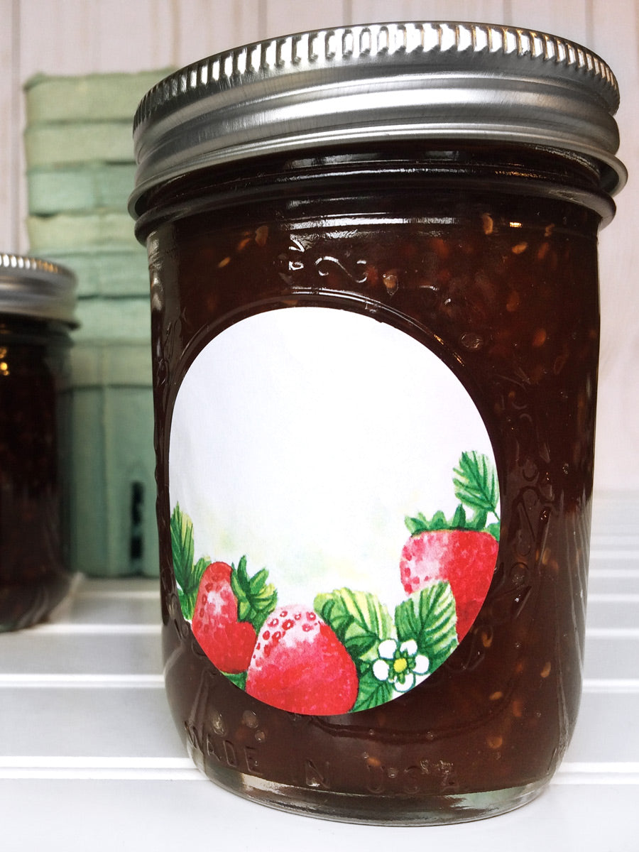 Watercolor Strawberry Canning Labels for home canned  jam, jelly, and preserves | CanningCrafts.com