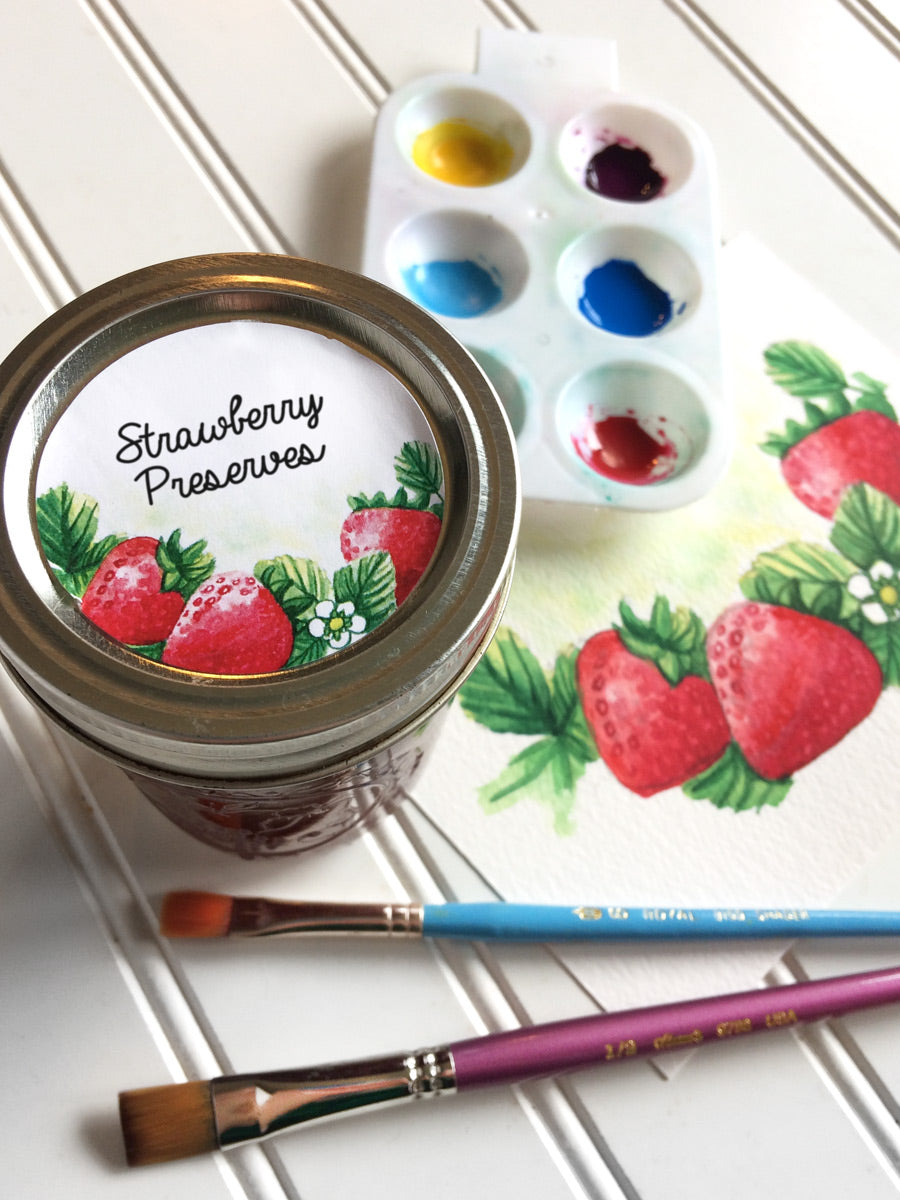 Watercolor Strawberry Canning Labels for jam, jelly, and preserves | CanningCrafts.com