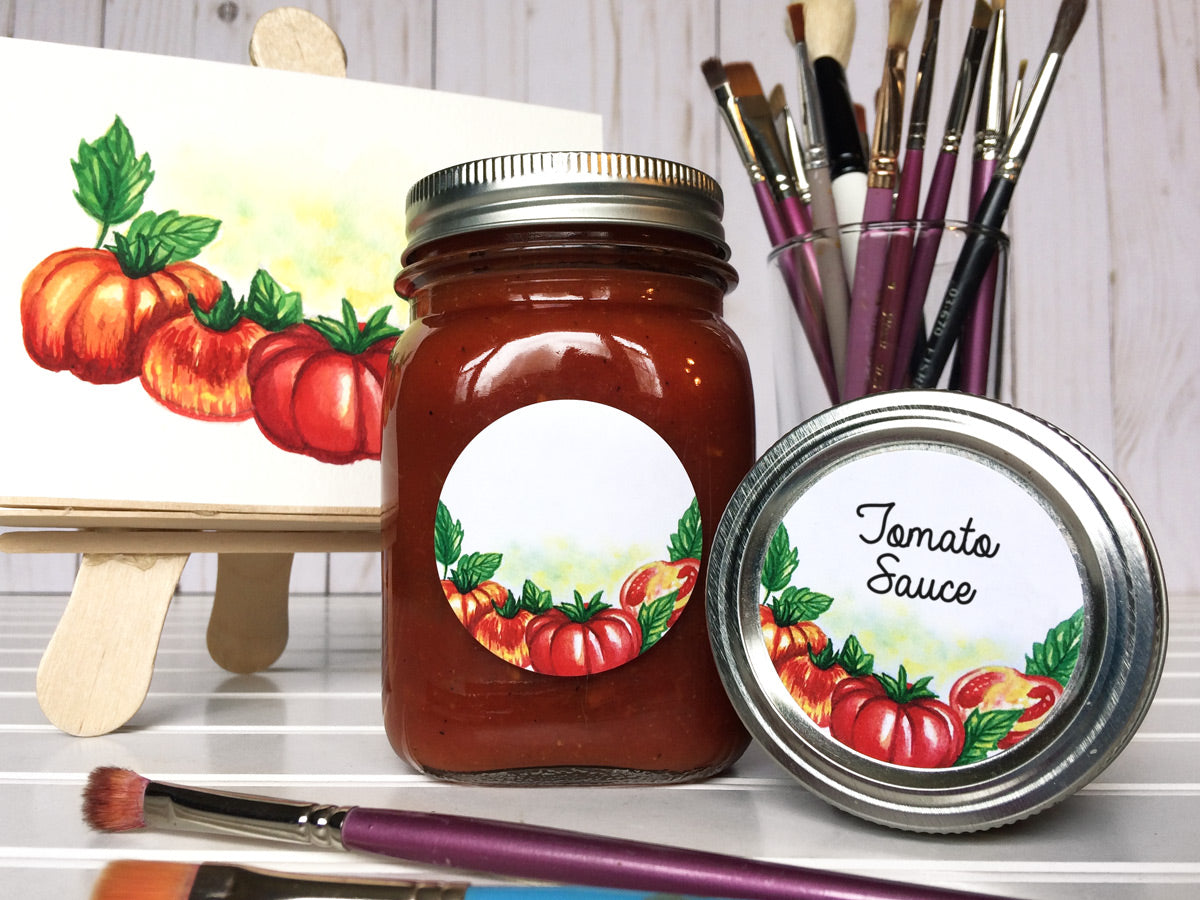 Watercolor Tomato Canning Labels for salsa & sauce | CanningCrafts.com