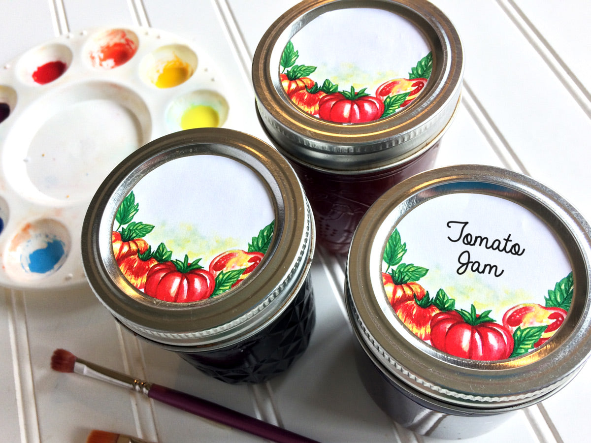 Watercolor Tomato Canning Labels for regular and wide mouth mason jar lids | CanningCrafts.com