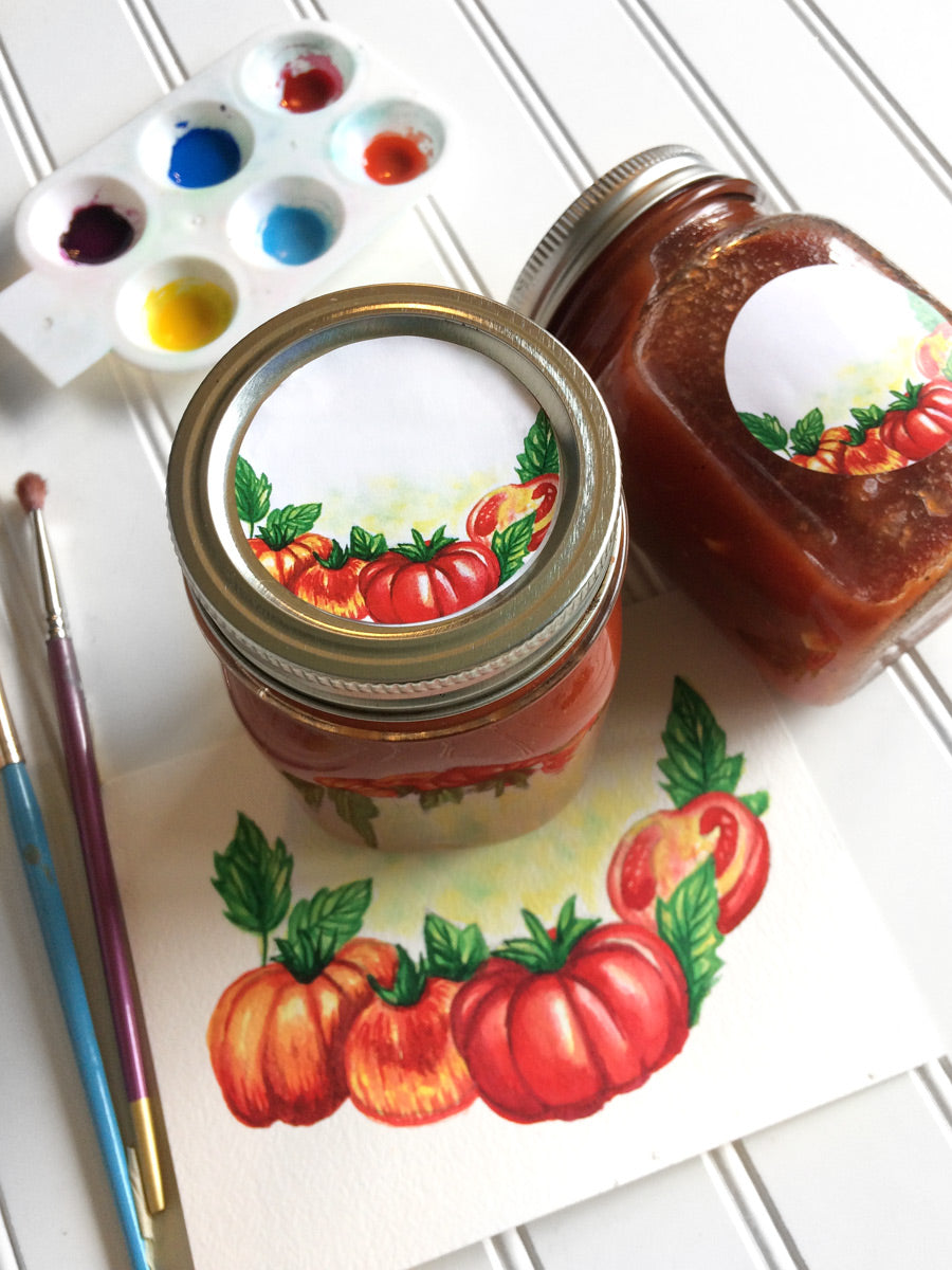 Watercolor Tomato Canning Labels | CanningCrafts.com