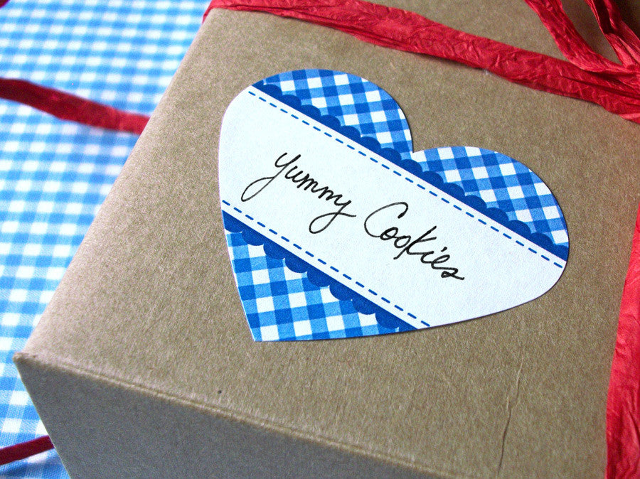 Blue Gingham Heart Labels | CanningCrafts.com