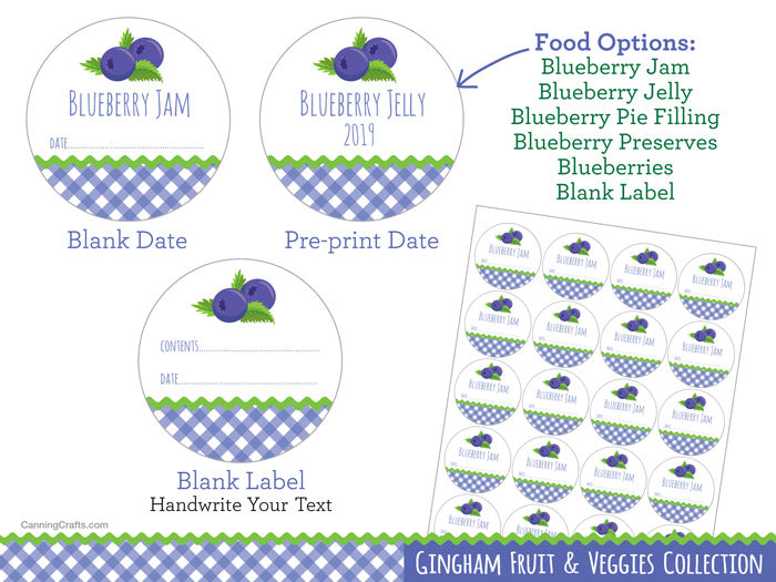 Gingham Blueberry Canning Labels | CanningCrafts.com