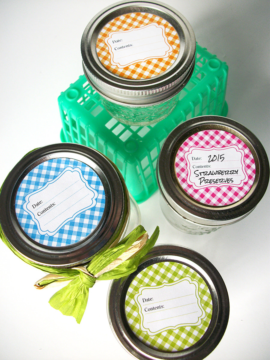 Bright Gingham Canning Jar Labels  | CanningCrafts.com