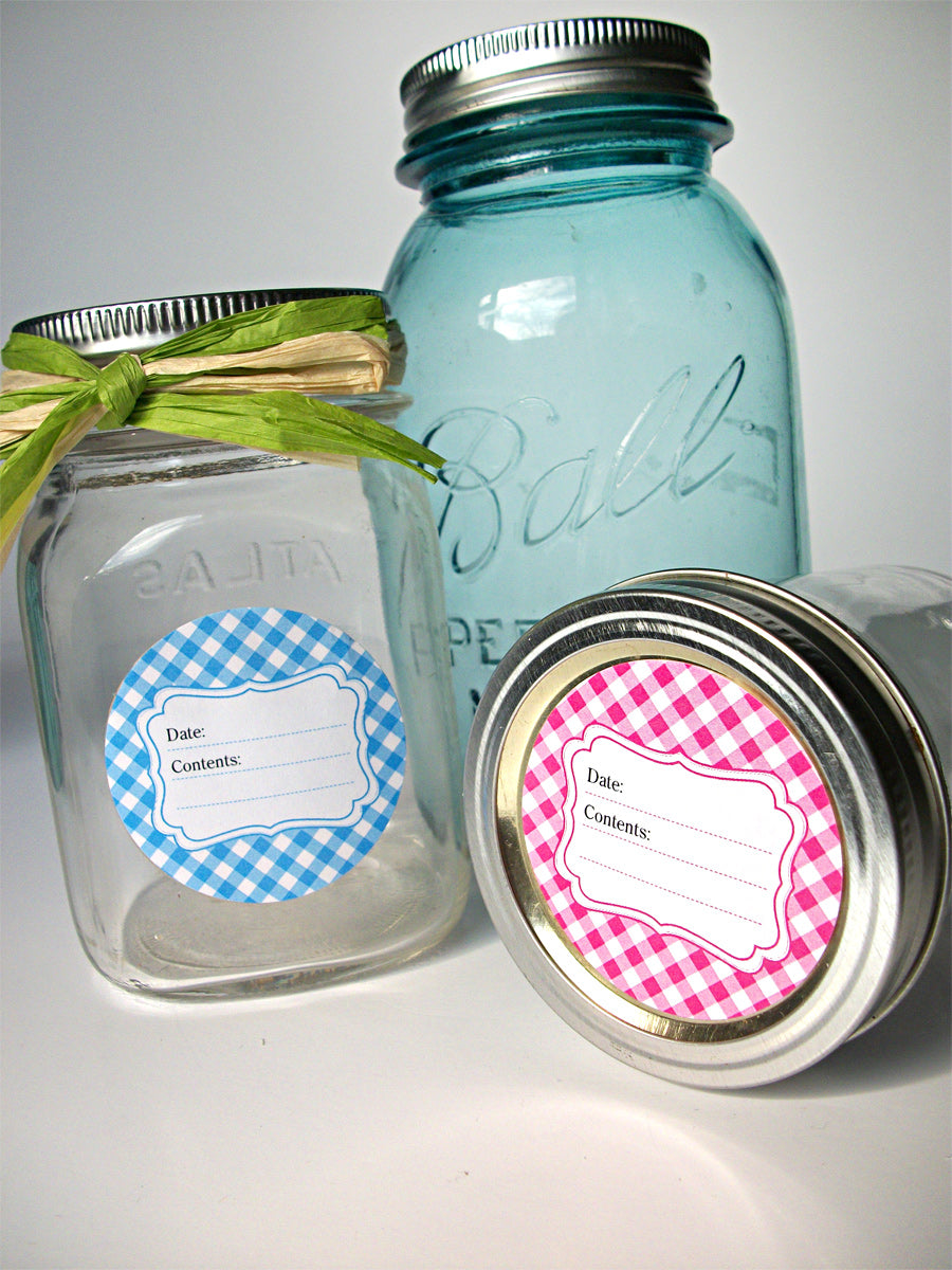 Bright Gingham Jam Jar Labels  | CanningCrafts.com