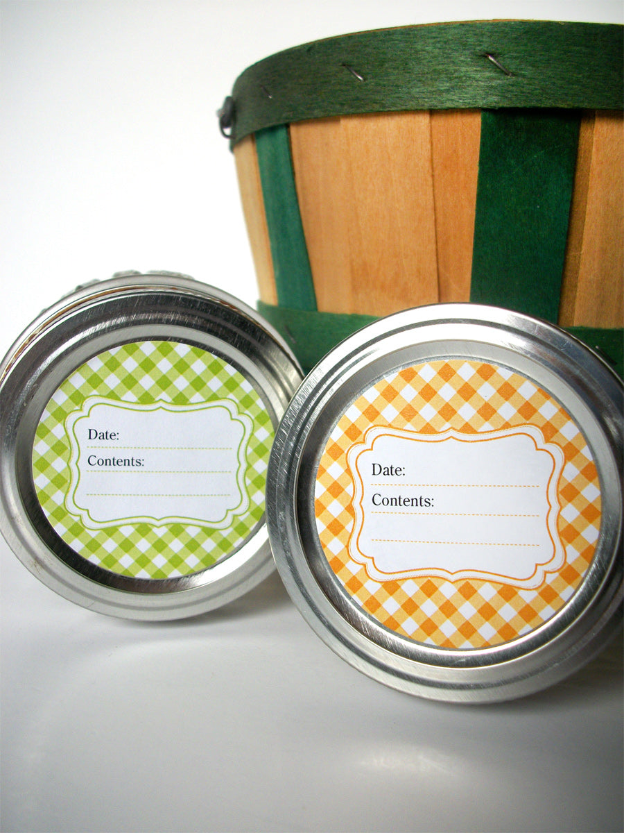 Bright Gingham Canning Labels  | CanningCrafts.com
