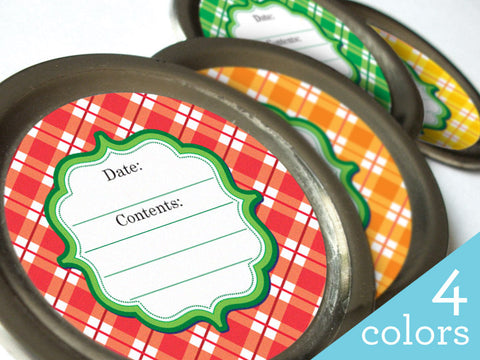 bright plaid canning labels | CanningCrafts.com