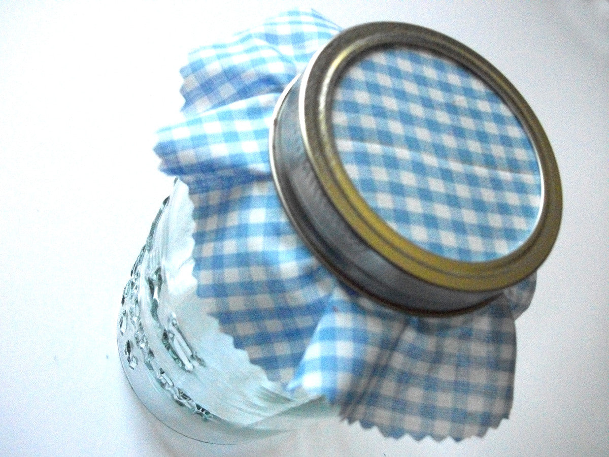 Gingham Jam Jar Covers
