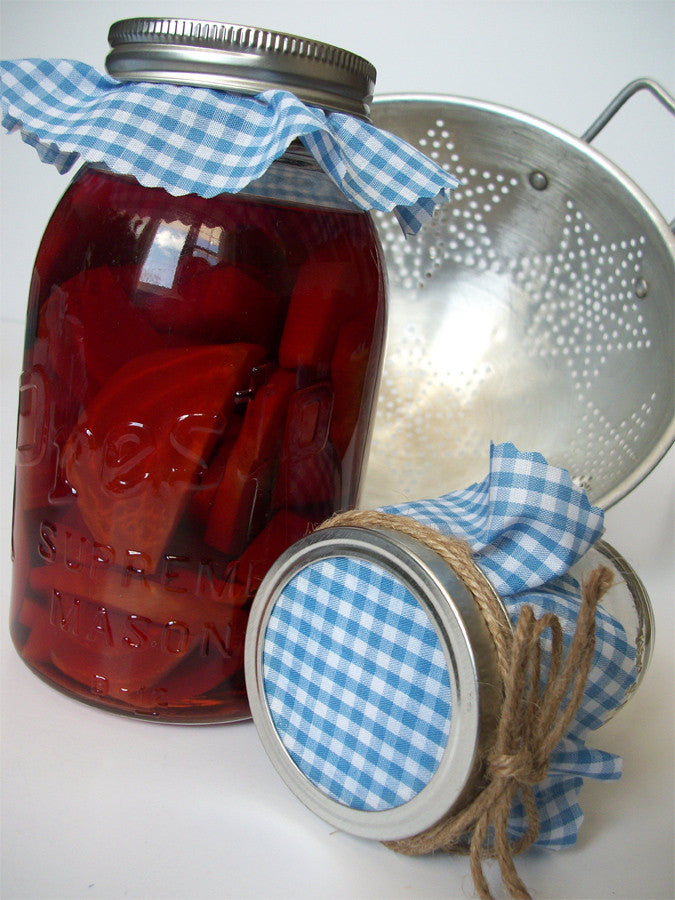 Blue Gingham Jam Jar Covers | CanningCrafts.com