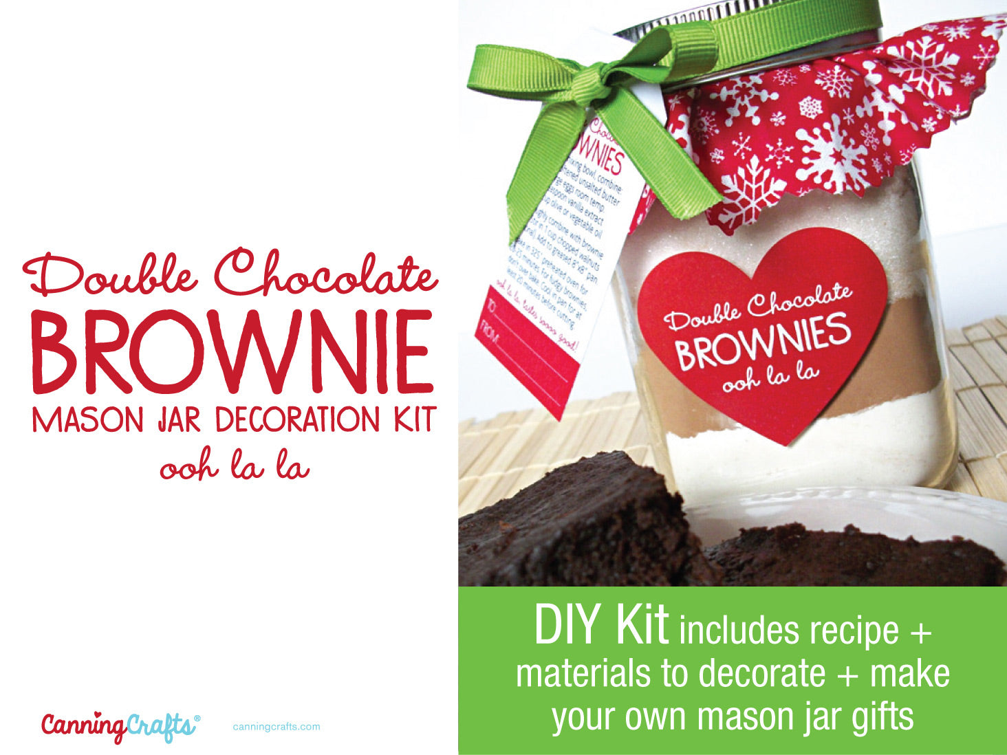 DIY Christmas Brownie Mix Mason Jar Gift | CanningCrafts.com