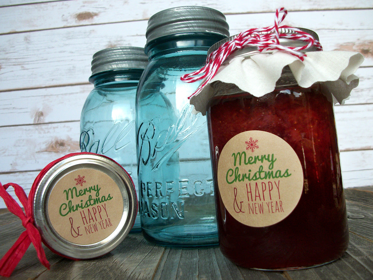 Merry Christmas Happy New Year Canning Labels | CanningCrafts.com