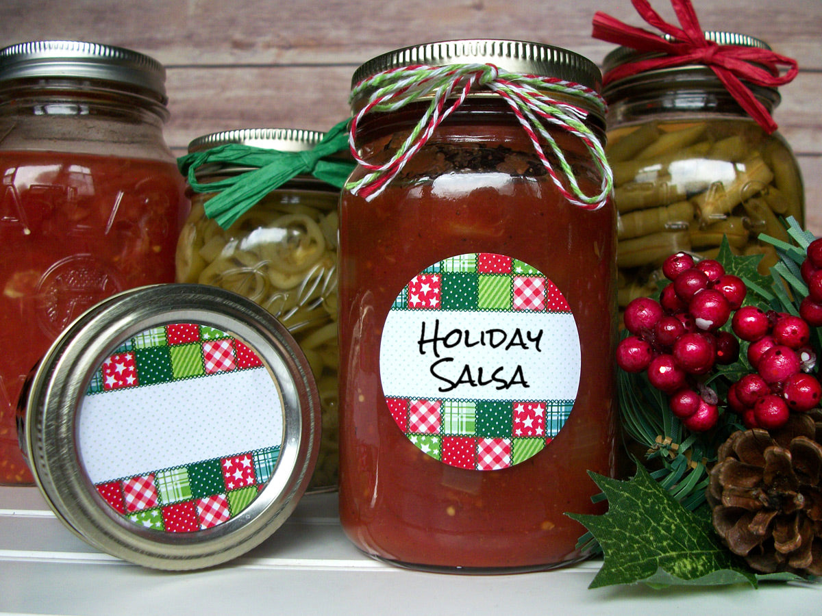 Country Quilt Christmas Canning Labels | CanningCrafts.com