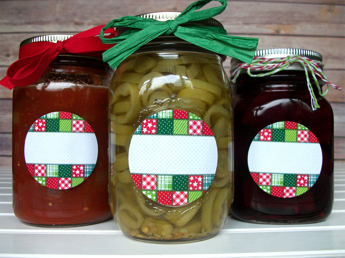 Country Quilt Christmas Canning Jar Labels | CanningCrafts.com