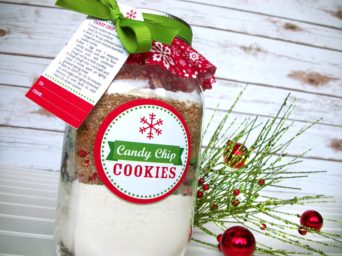 Custom Christmas Cookie Mason Jar decoration kit includes recipe, tags, labels, cloth covers & ribbon to decorate your own mason jar gifts | Tags & labels are printed with YOUR recipe | CanningCrafts.com