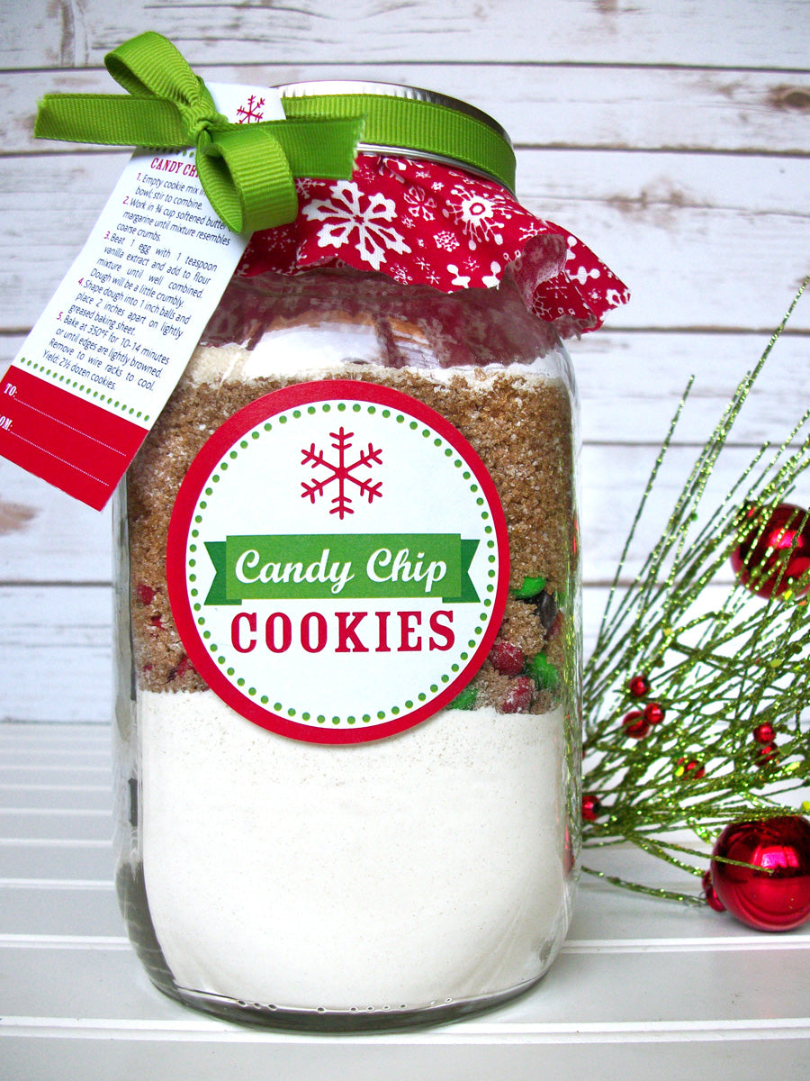 Christmas Candy Chip Cookie Mason Jar decoration kit includes recipe, tags, labels, cloth covers & ribbon to decorate your own mason jar gifts | Choose from 4 cookie recipes | CanningCrafts.com