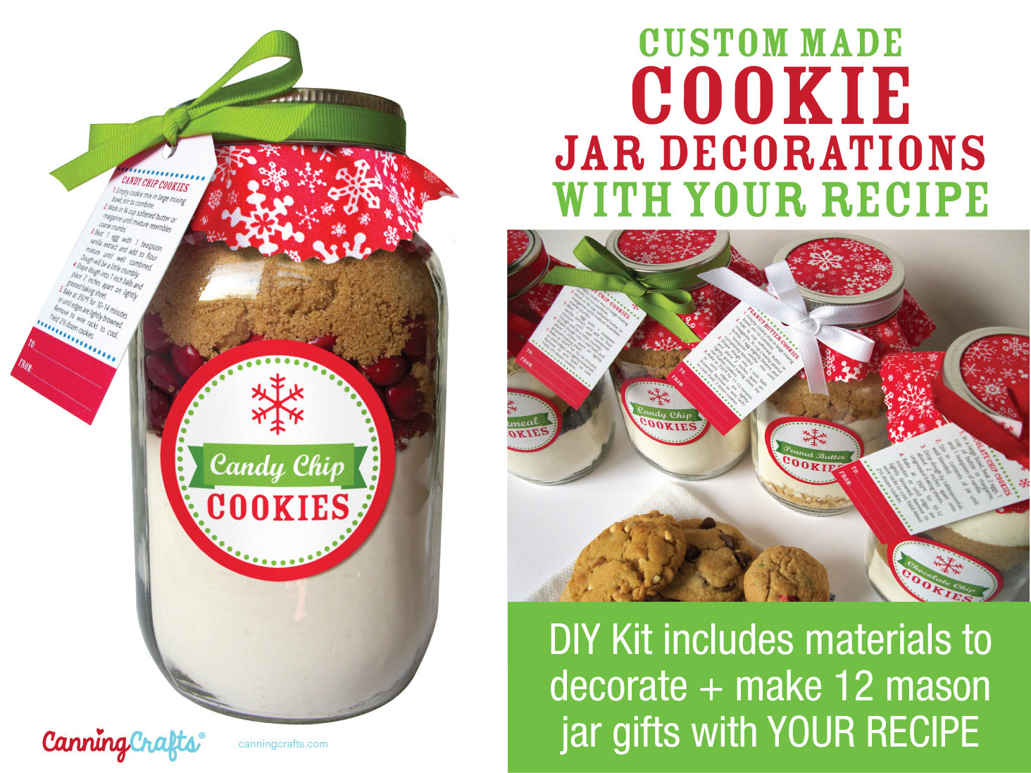 Custom Christmas Cookie Mix in a Jar Decorations with YOUR recipe | CanningCrafts.com