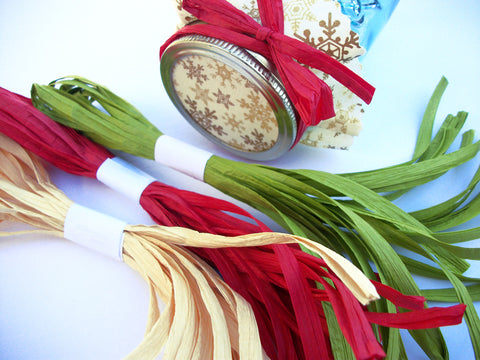 Red, Green, Natural Christmas Raffia Ribbons | CanningCrafts.com