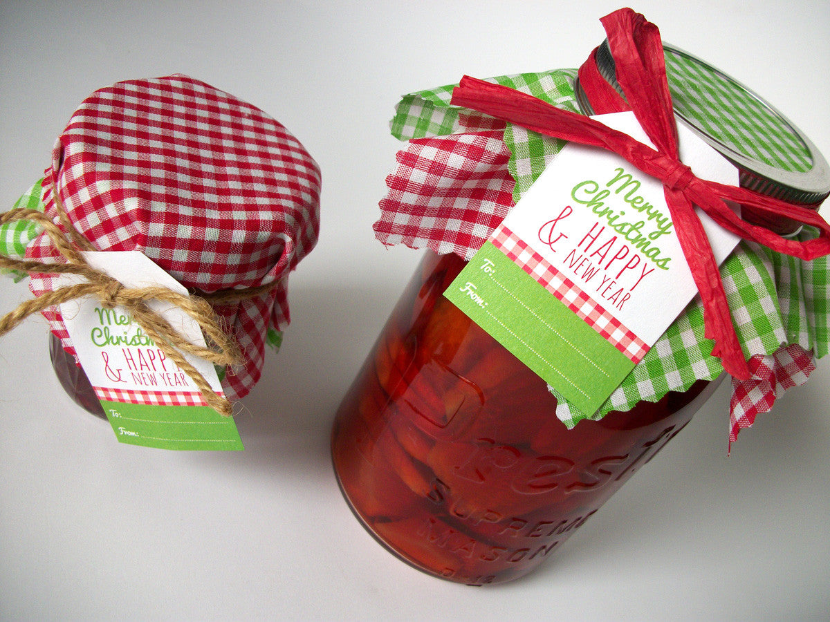 Red & Green Gingham Christmas Jam Jar Covers | CanningCrafts.com