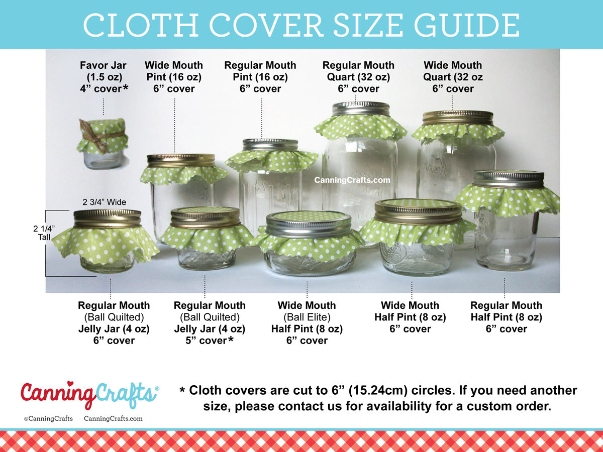 Cloth jam jar cover size chart | CanningCrafts.com