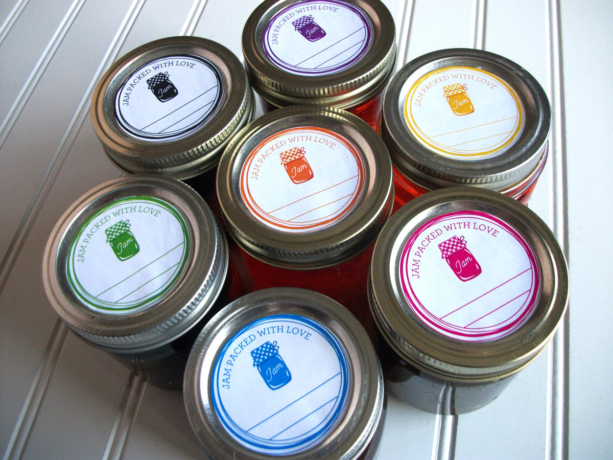 Colorful Jam Packed With Love Canning Labels | CanningCrafts.com