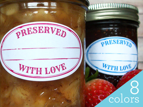 Colorful Stamped Preserved With Love Oval Canning Labels | CanningCrafts.com
