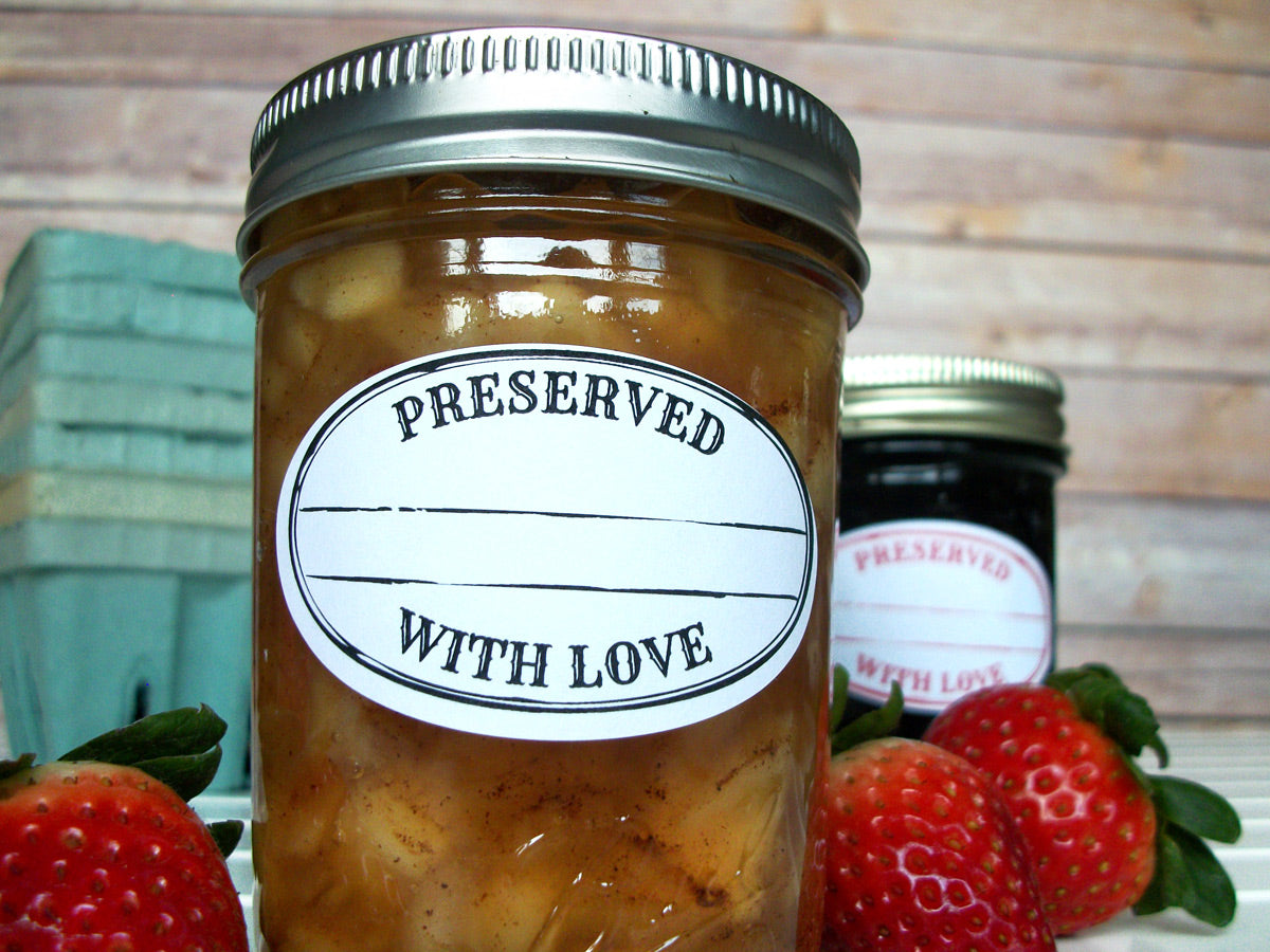 Colorful Stamped Preserved With Love Oval Jam Jar Canning Labels | CanningCrafts.com