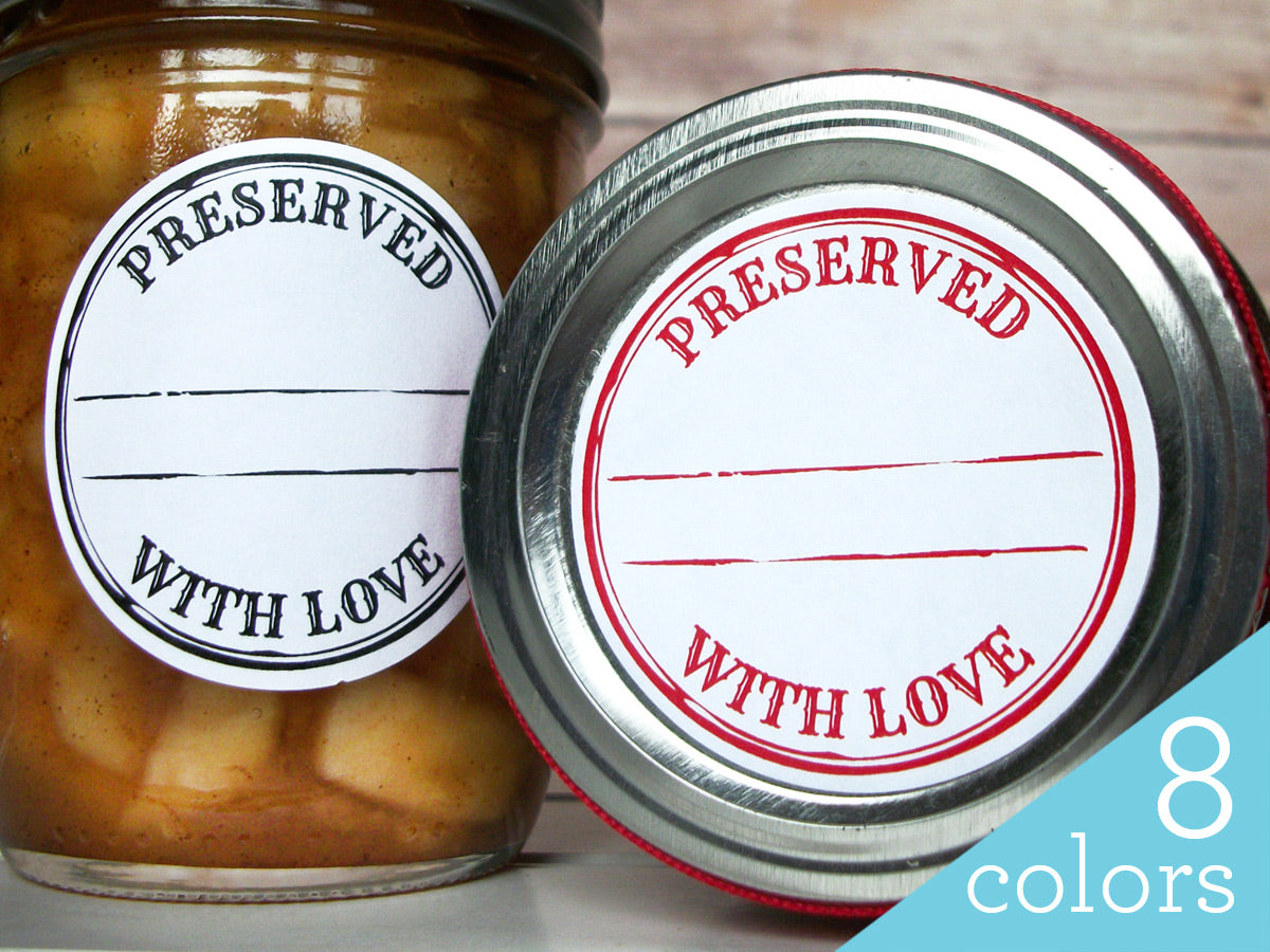 Colorful Stamped Preserved With Love Canning Labels | CanningCrafts.com