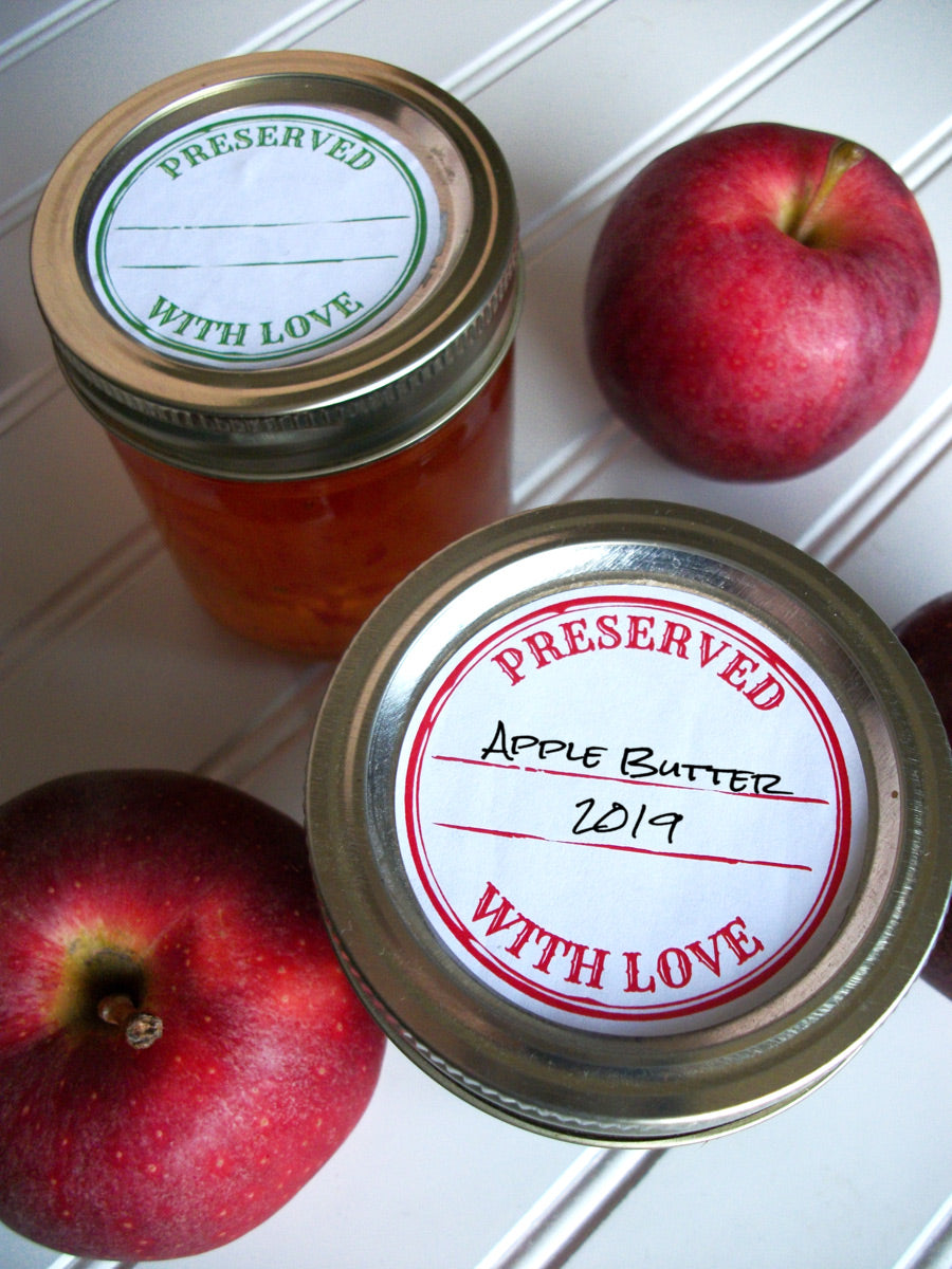 Colorful Stamped Preserved With Love Jam & Jelly Jar Canning Labels | CanningCrafts.com