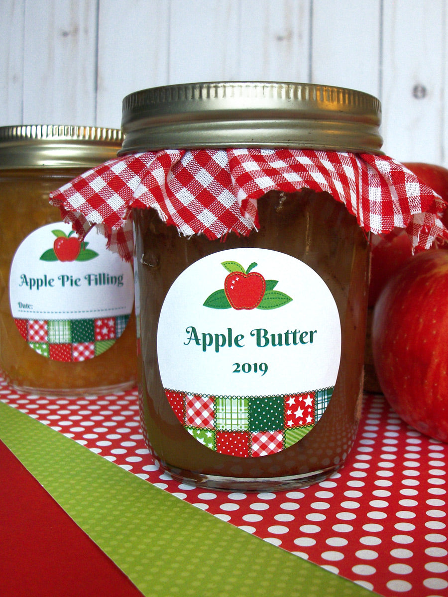 Country Quilt Apple Butter Mason Canning Jar Labels | CanningCrafts.com