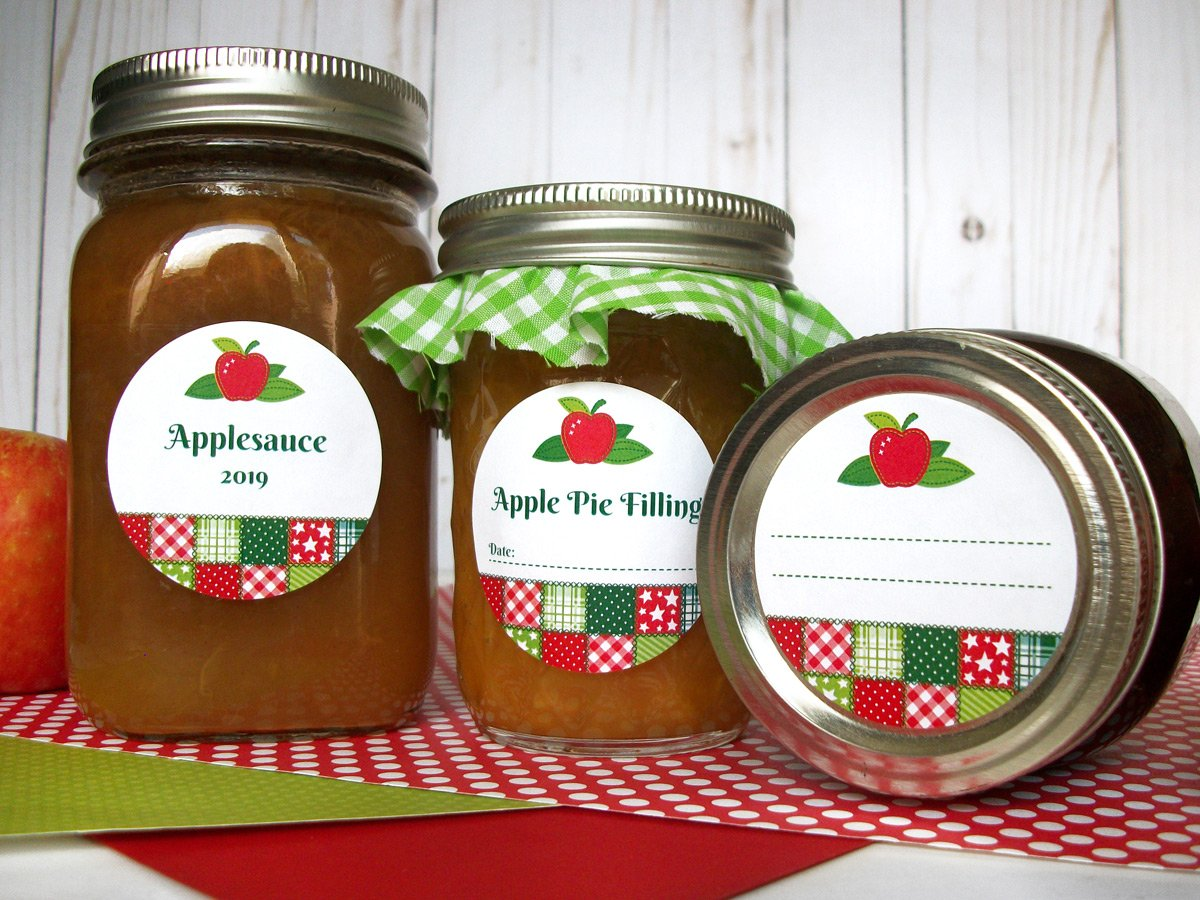 Country Quilt Applesauce & Pie Filling Canning Jar Labels | CanningCrafts.com