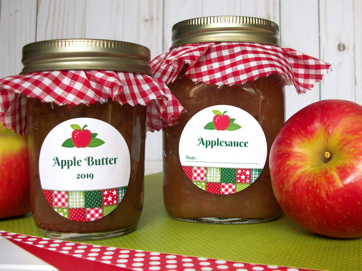 Country Quilt Apple Butter & Applesauce Canning Labels | CanningCrafts.com