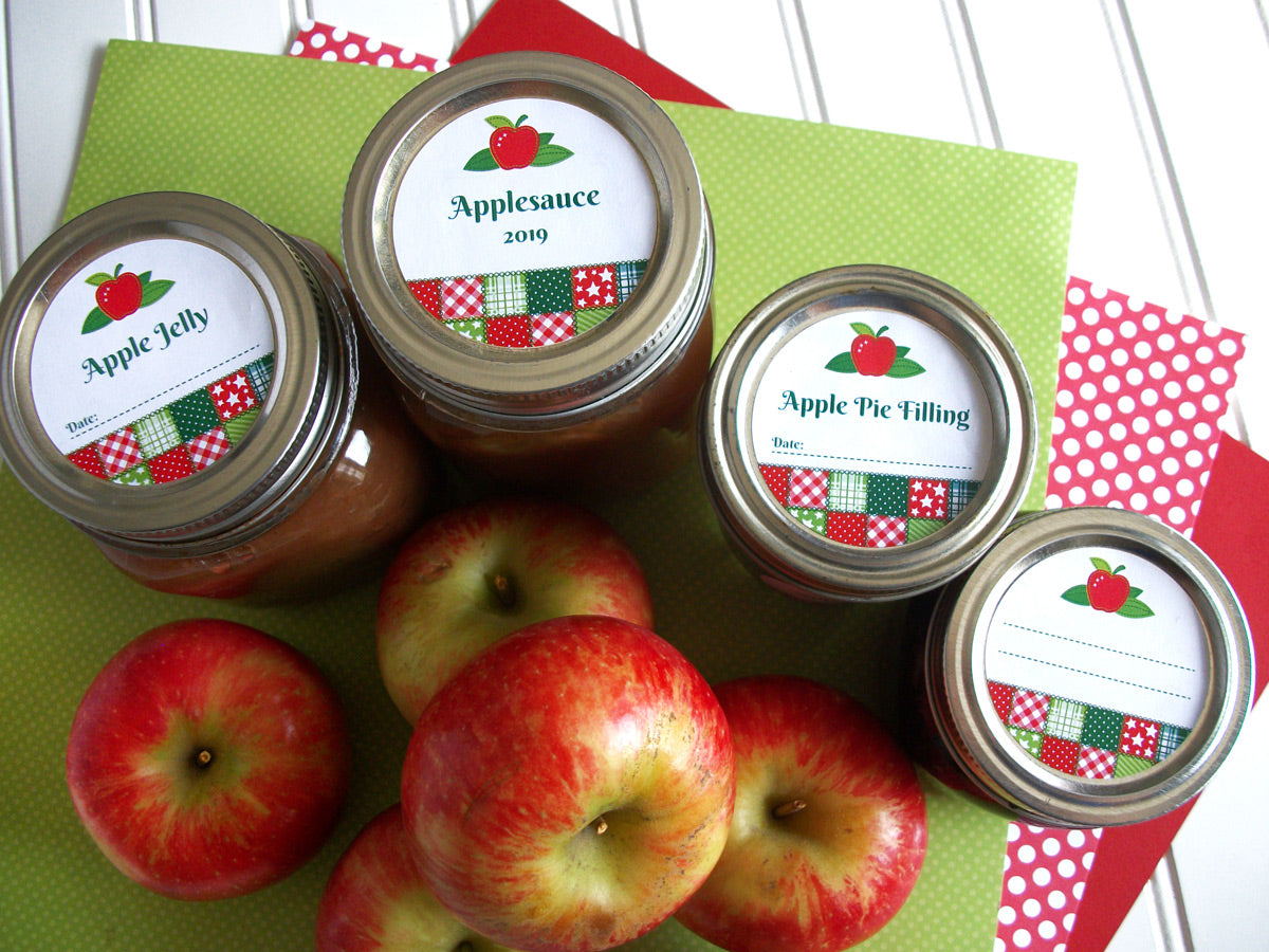 Country Quilt Applesauce, Jelly, & Pie Filling Mason Canning Jar Labels | CanningCrafts.com