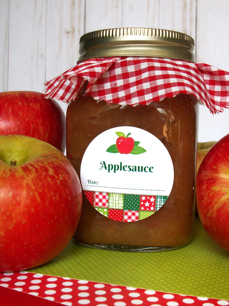 Country Quilt Applesauce Canning Jar Labels | CanningCrafts.com