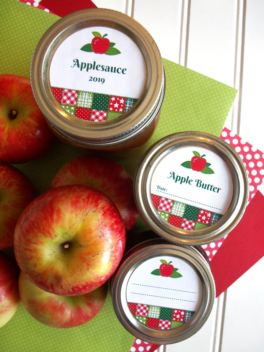 Country Quilt Applesauce & Apple Butter Canning Jar Labels | CanningCrafts.com