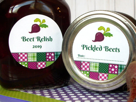 Country Quilt Pickled Beets & Relish Canning Labels | CanningCrafts.com
