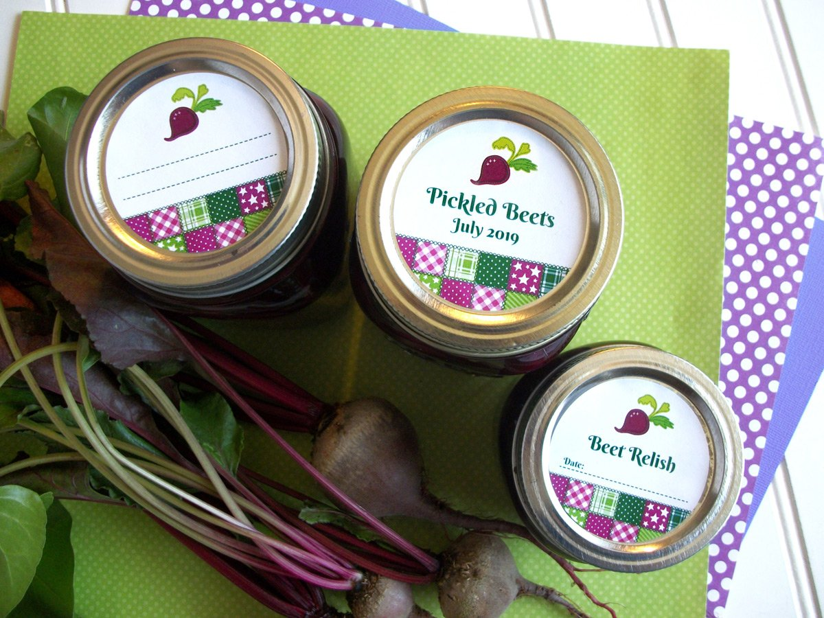 Country Quilt Pickled Beets & Relish Canning Jar Labels | CanningCrafts.com