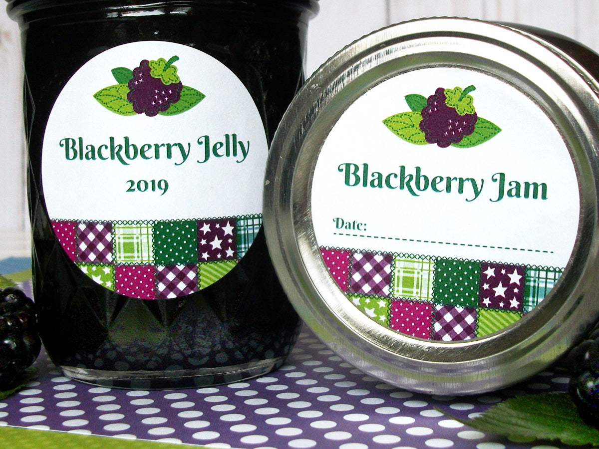 Country Quilt Blackberry Jam & Jelly Canning Labels | CanningCrafts.com