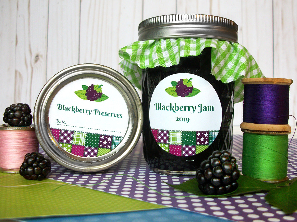 Country Quilt Blackberry Jam & Preserves Canning Labels | CanningCrafts.com