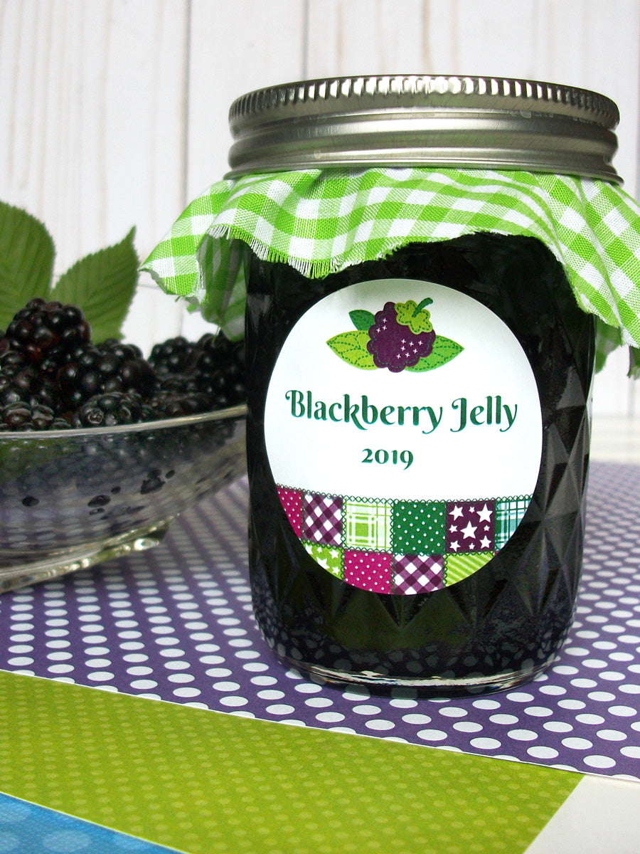 Country Quilt Blackberry Jelly Canning Labels | CanningCrafts.com