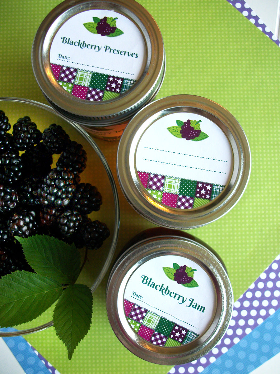 Country Quilt Blackberry Jam, Jelly, & Preserves Canning Labels | CanningCrafts.com