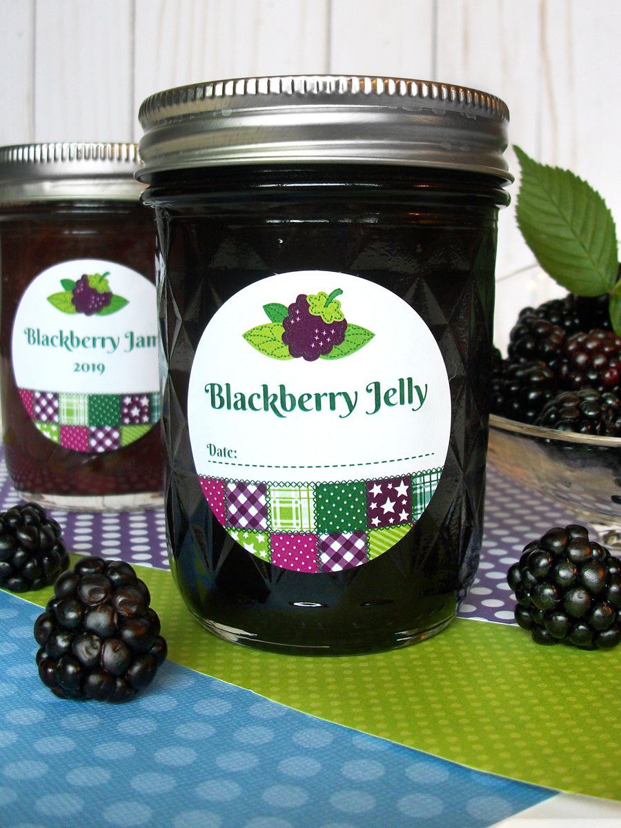 Country Quilt Blackberry Jam & Jelly Mason Canning Jar Labels | CanningCrafts.com