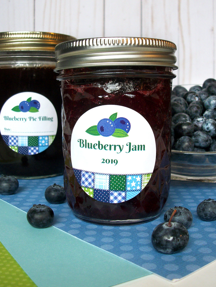 Country Quilt Blueberry Jam Jar Labels | CanningCrafts.com