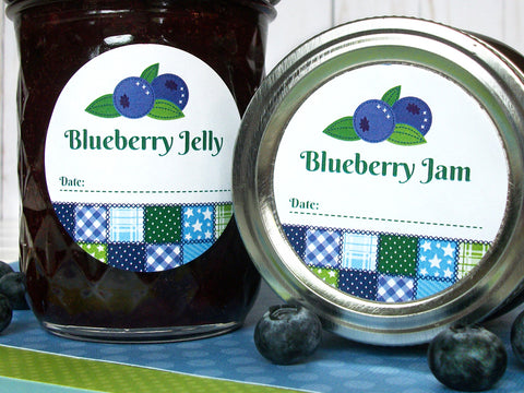 Country Quilt Blueberry Jam & Jelly Canning Labels | CanningCrafts.com