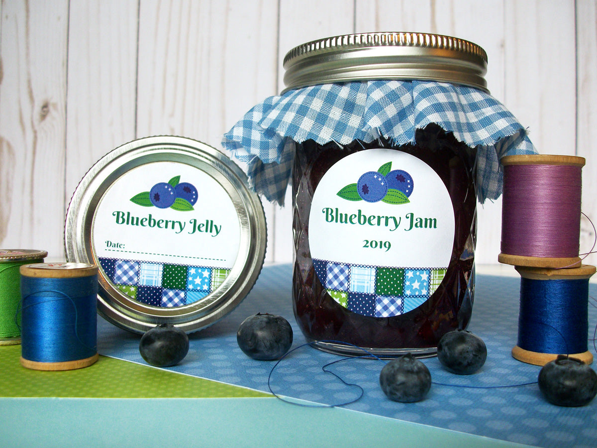 Country Quilt Blueberry Jam & Jelly Canning Jar Labels | CanningCrafts.com